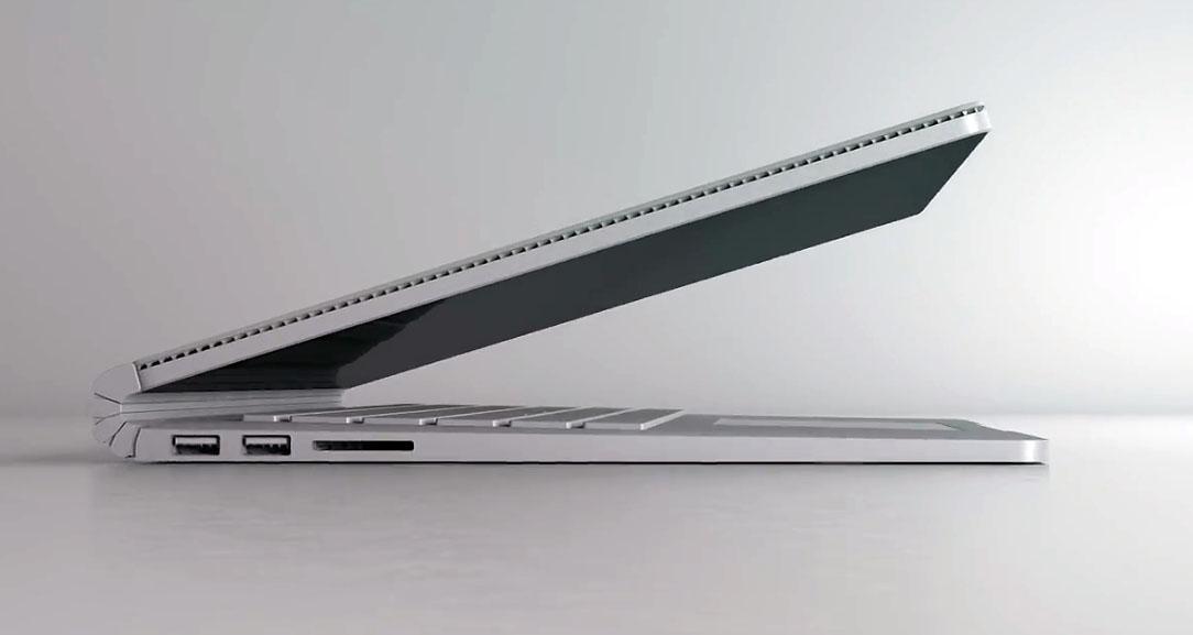Hier ist die Seitenansicht des Surface Book