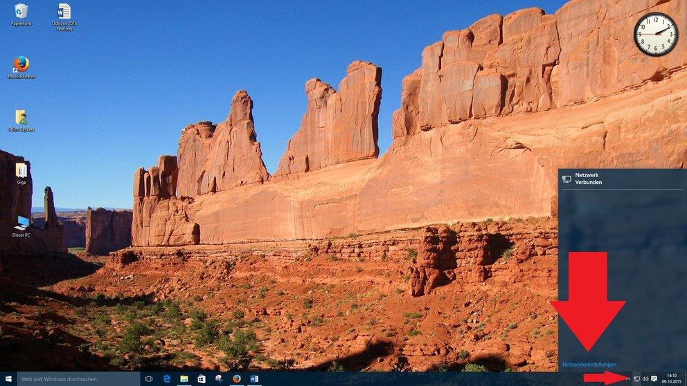 Windows 10 Netzwerktyp ändern in Taskleiste