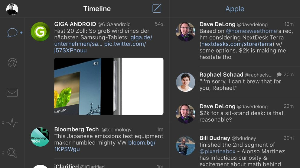 iPhone 6s Plus – Querformat-Modus Tweetbot 4