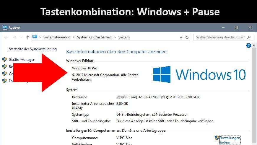 """Mit """"Windows + Pause"""" seht ihr sofort, welche Windows-Version installiert ist"""