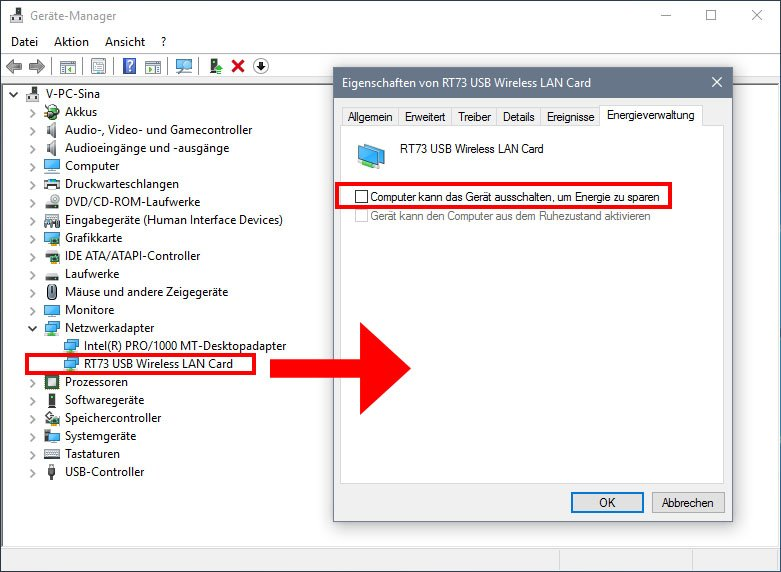 Windows 10: Hier deaktiviert ihr das automatische Ausschalten des WLAN-Adapters.