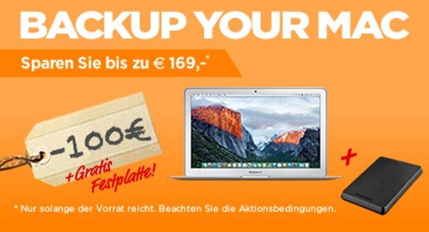 Back up your Mac:<b> Bis zu 100 € Sofortrabatt + 1 TB Toshiba Festplatte im Wert von 69 € gratis dazu!</b></b>