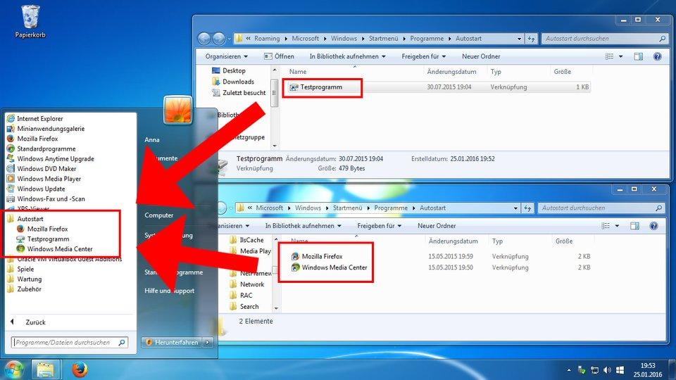"""Windows 7 zeigt die Programme beider Autostart-Order im Startmenü unter """"Autostart"""" an."""