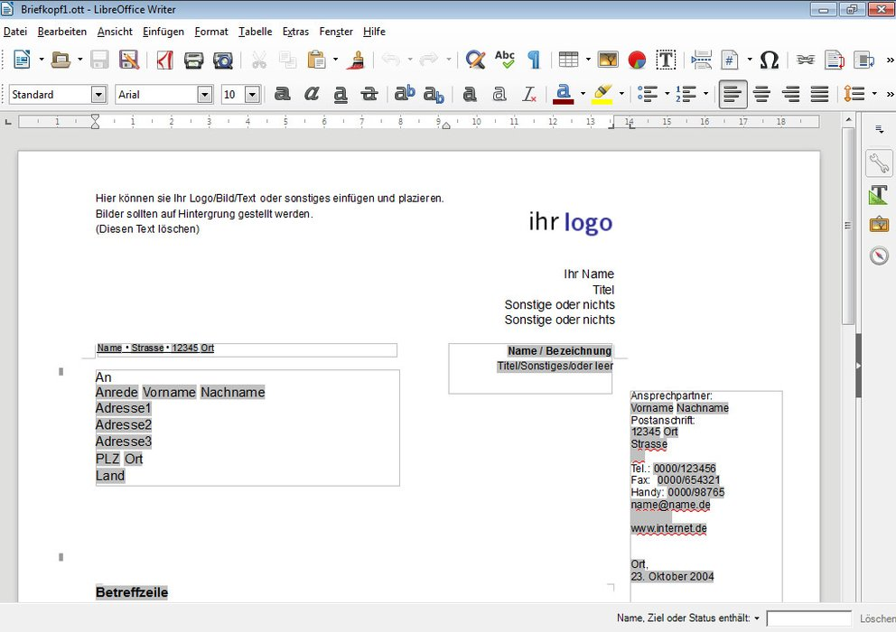 Projekt-Briefvorlagen