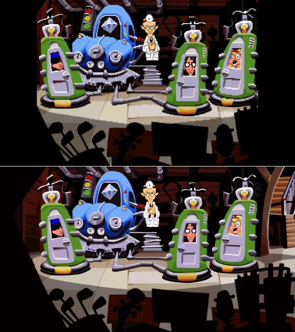 Day of the Tentacle Remastered: alt (1993) vs. neu (2016).