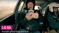LG G5: Spektakuläres Unboxing im Rallye-Wagen