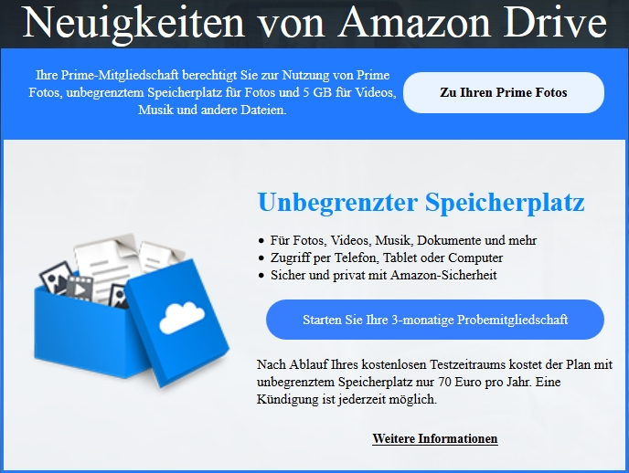 amazon drive cloud speicher f r prime kunden im vergleich zu dropbox giga. Black Bedroom Furniture Sets. Home Design Ideas