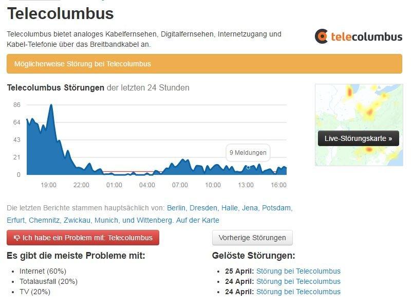 Telecolumbus-Stoerungen-Screenshot allestoerungen.de