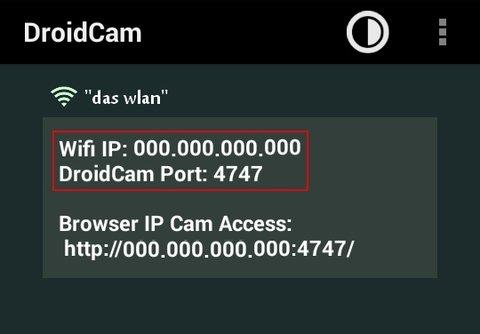 Handy als Webcam WiFi DroidCam
