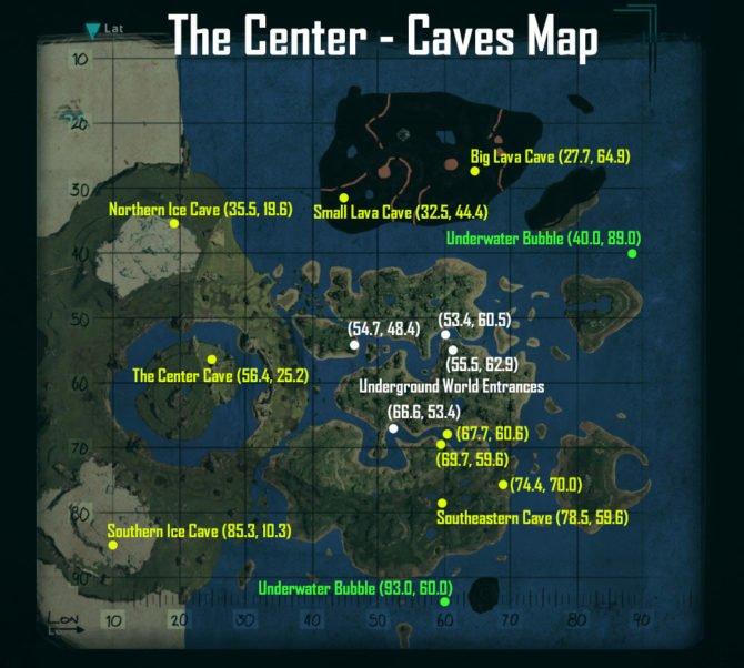 """Hier findet ihr alle Höhlen auf der neuen Map """"The Center"""". (Quelle: ARK)"""