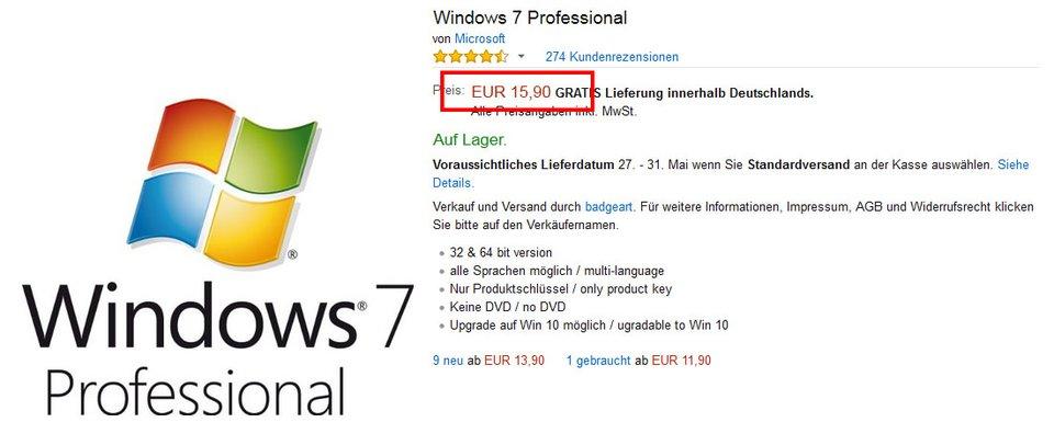 Windows 7 könnt ihr für günstige 16 Euro kaufen.
