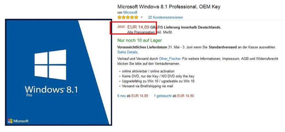 Windows 8 für rund 15 Euro. Viel günstiger wird es wohl nicht.