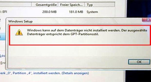 Lösung: Windows kann auf dem Datenträger nicht installiert werden (GPT, MBR) – so gehts doch