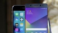 Samsung Galaxy Note 7 vs. iPhone 6s Plus: Vorzeige-Phablets im Vergleichsvideo