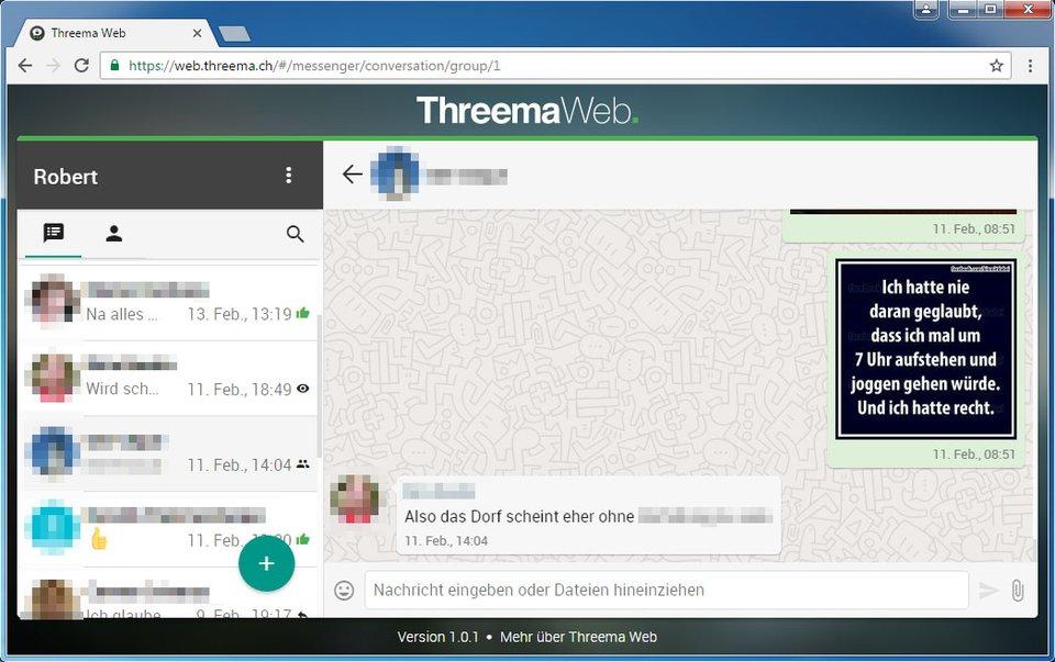 So sieht Threema Web in Google Chrome am PC aus.