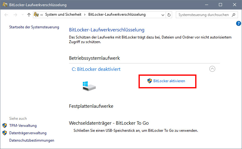 bitlocker in windows 10 und 7 aktivieren deaktivieren mit und ohne tpm so geht s giga. Black Bedroom Furniture Sets. Home Design Ideas