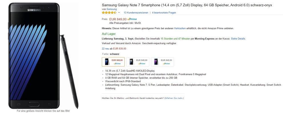 Samsung Galaxy Note 7 bei Amazon