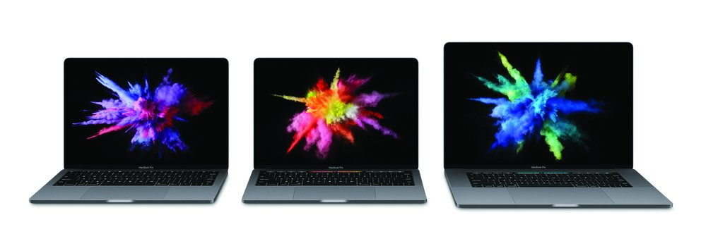 MacBook Pro 13 Zoll ohne Touch Bar, mit Touch Bar und MacBook Pro 15 Zoll (mit Touch Bar).