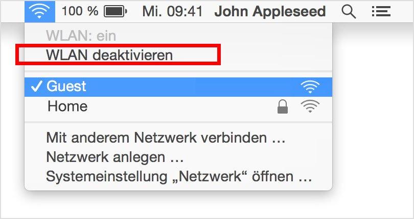 Mac: So schaltet ihr die WLAN-Verbindung unter MacOS aus. Bildquelle: Apple