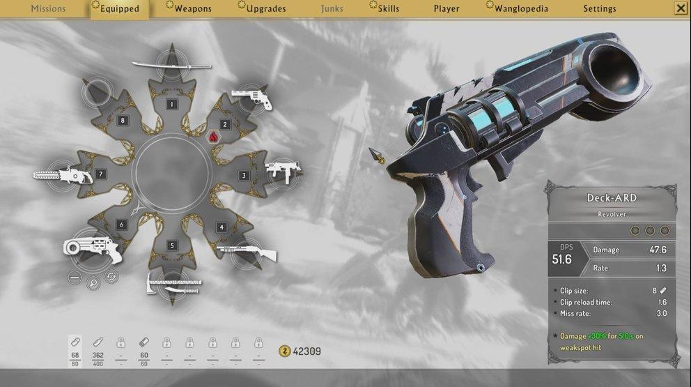 Im Menü findet ihr eure Waffen. Habt ihr schon einige gesammelt, solltet ihr sie miteinander vergleichen und sorgfältig auswählen.