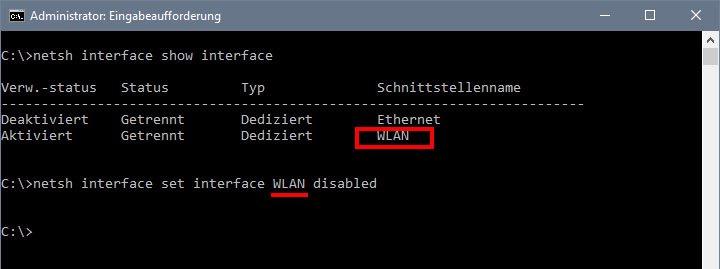 CMD: Per Eingabeaufforderung könnt ihr das WLAN ausschalten.