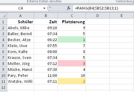 Microsoft-Excel-Rangliste-RANG