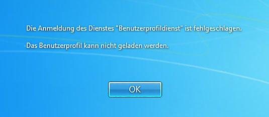 Windows 7: Die Fehlermeldung des defekten Benutzerprofils.