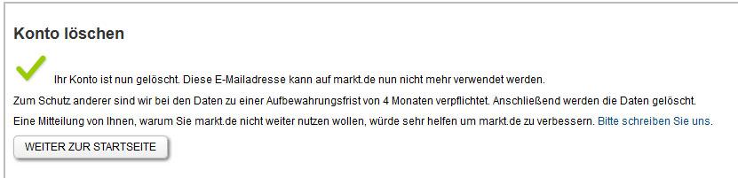 Markt.de: Konto löschen - Anleitung