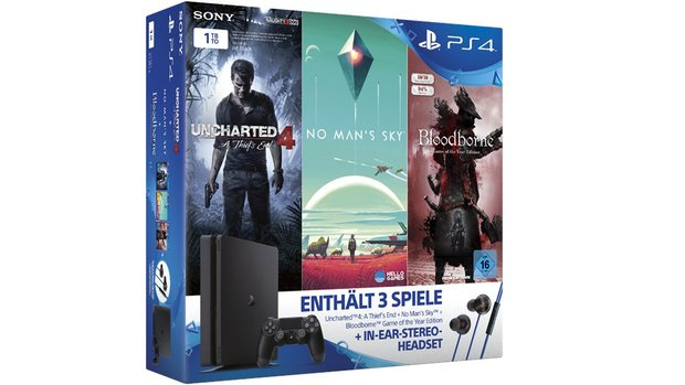 PS4 Slim 1 TB inklusive No Man's Sky, Bloodborne, Uncharted 4 und In-Ear-Headset für 299 Euro</b>
