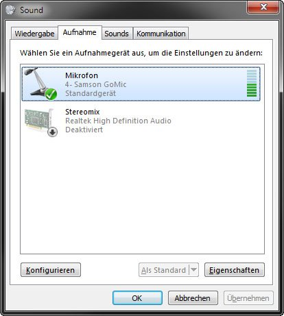 Windows: Das Mikrofon funktioniert.