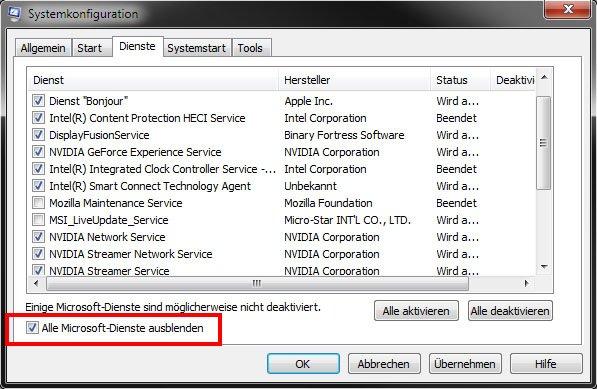 Windows 7: Hier könnt ihr unnötige Dienste deaktivieren. Aktiviert aber dieses Häkchen vorher.