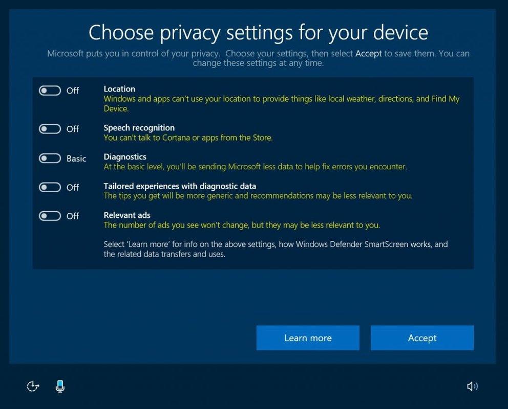 Windows 10 Creators Update Privatsphaere Einstellungen deaktiviert