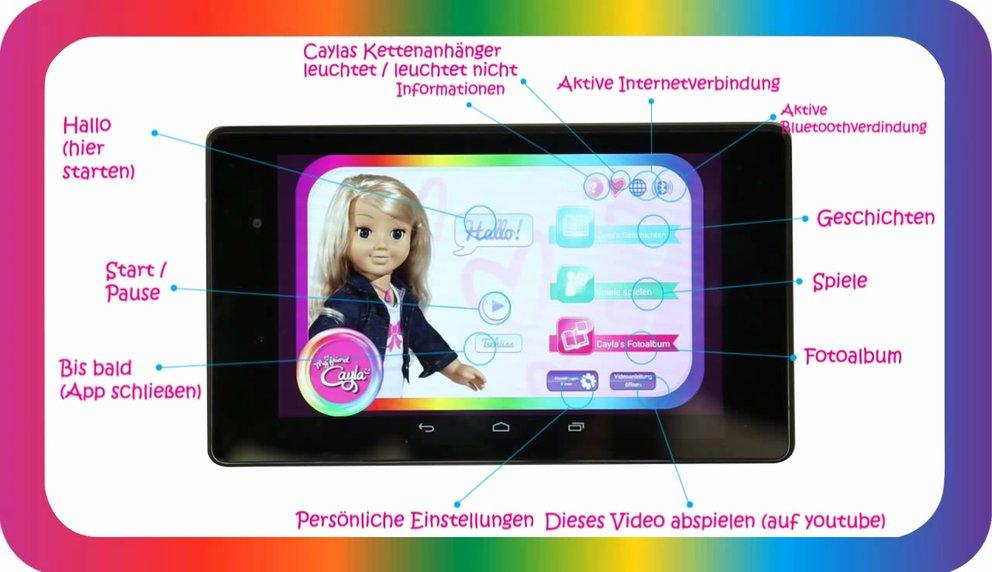 "Die smarte Puppe ""My friend Cayla"" wird per App gesteuert (Quelle: Screenshot Youtube / Vivid)"