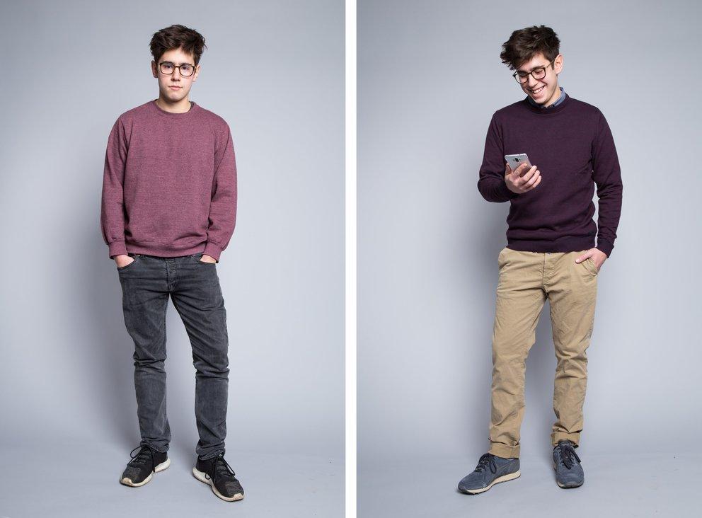 Luc vorher und nachher – mit dem Huawei Mate 9 und Styling von Outfittery (Fotos: Outfittery)