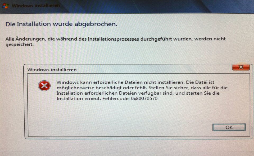 Fehlercode 0x80070570 bei einer Windows-Installation.