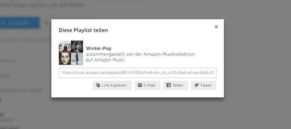 Amazon Playlist teilen