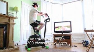 """""""CycleVR"""": Mann durchquert auf seinem Heimtrainer ganz England"""