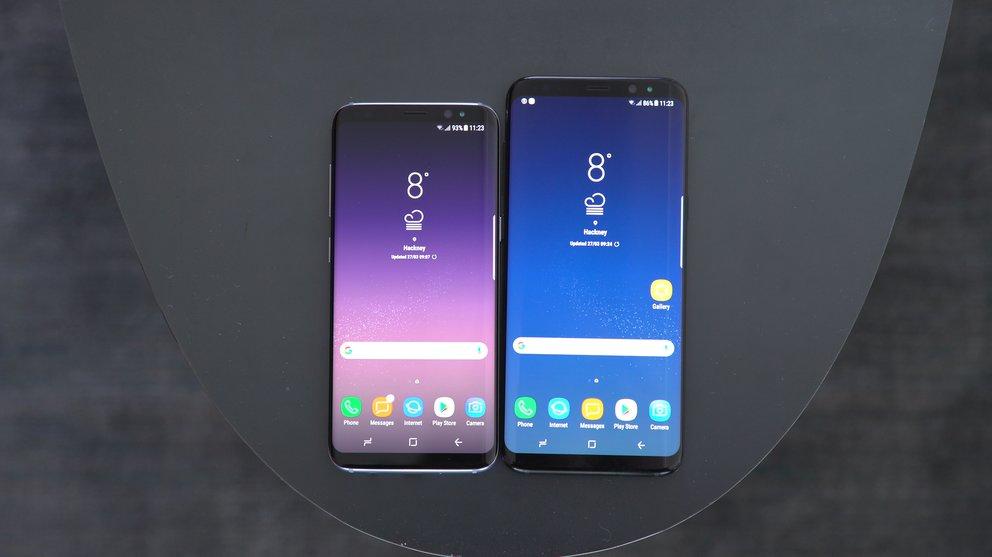 Das Samsung Galaxy S8 neben dem Galaxy S8 Plus – beide ohne dedizierten Homebutton.
