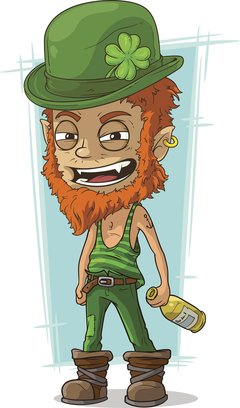 Cartoon evil drunk leprechaun with bottle
