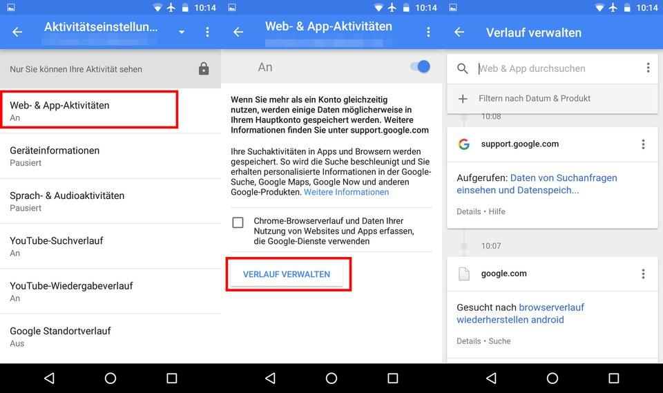 Android: Rechts seht ihr, wonach in Google gesucht wurde.