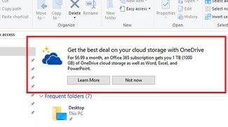 Windows 10: OneDrive-Werbung im Datei-Explorer deaktivieren