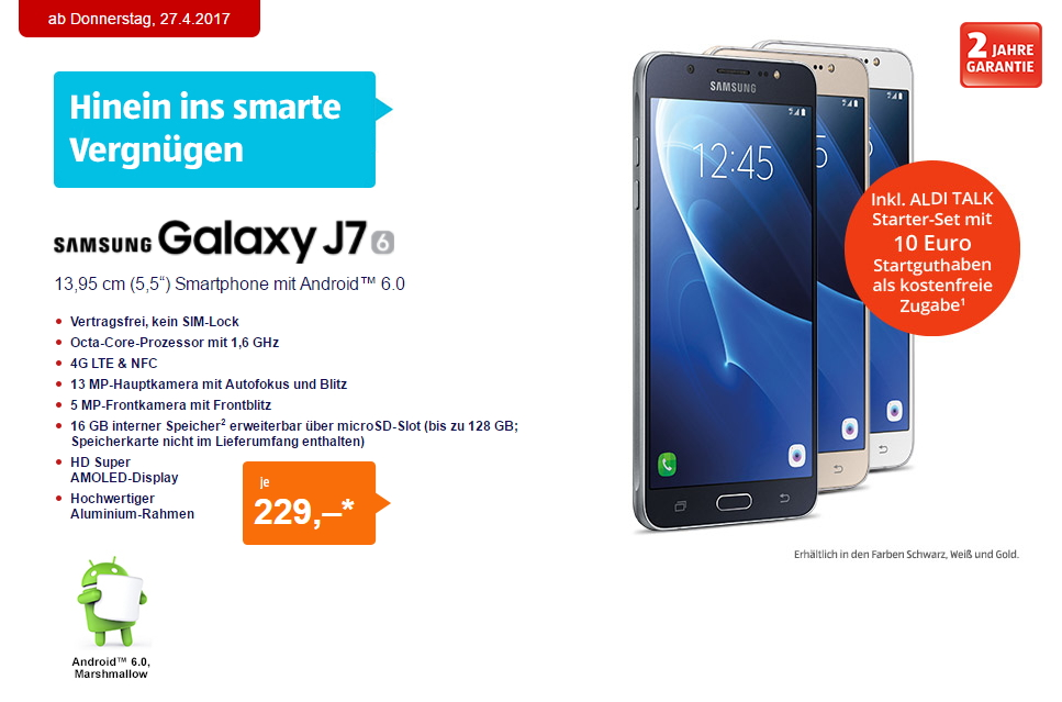 aldi handy samsung galaxy j7 2016 ab heute f r 229 euro. Black Bedroom Furniture Sets. Home Design Ideas