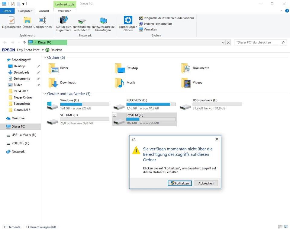 Windows-10-Creators-Update-USB-Stick-unbekannte-Partition