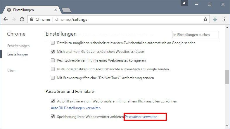 Chrome: Klickt hier, um eine Liste mit den gespeicherten Passwörtern anzuzeigen.