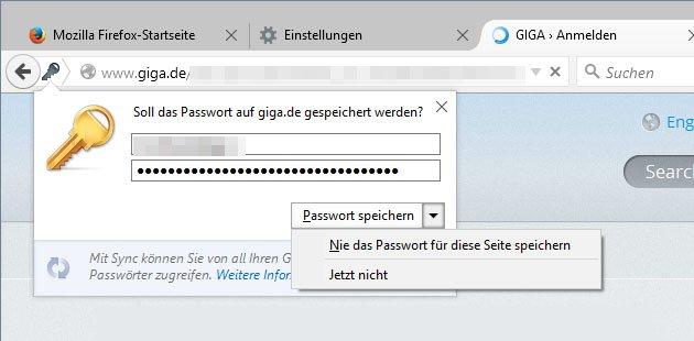 Diese Abfrage stellt Firefox standardmäßig, wenn ihr euch irgendwo einloggt.