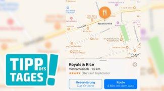 Tisch auf dem iPhone reservieren: Apple Karten mit Anbindung von Das Örtliche