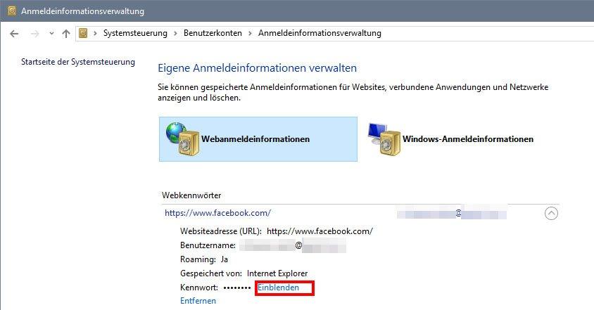 Windows: Klickt hier, um das gespeicherte Passwort des Internet Explorer anzuzeigen.