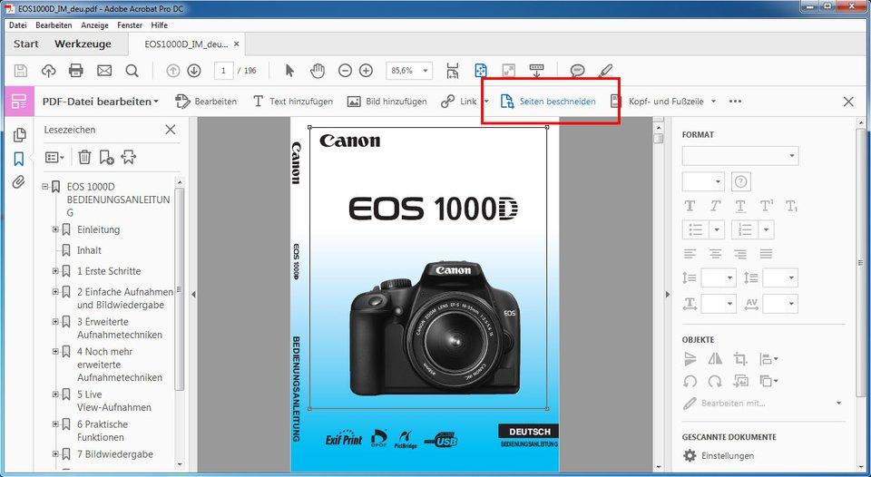 """Adobe Acrobat Pro DC: Klickt auf """"Seite beschneiden""""."""