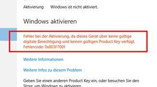 Lösung: Fehler 0x803f7001 – Kein gültiger Product Key in Windows 10