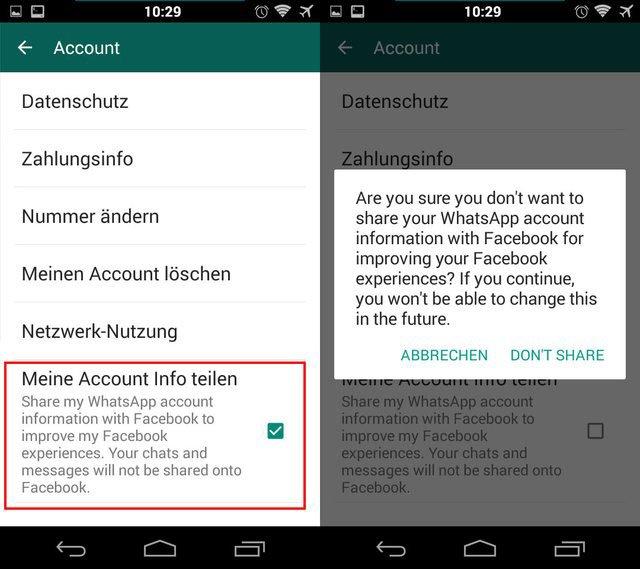 In euren Account-Einstellungen könnt ihr verhindern, dass WhatsApp Daten mit Facebook teilt.